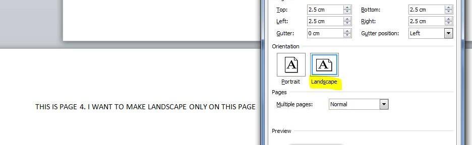 Microsoft Word Set Landscape Only on Single Page